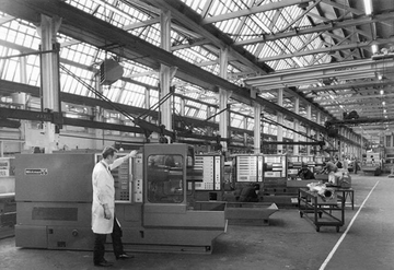 Factory interior, black and white photo